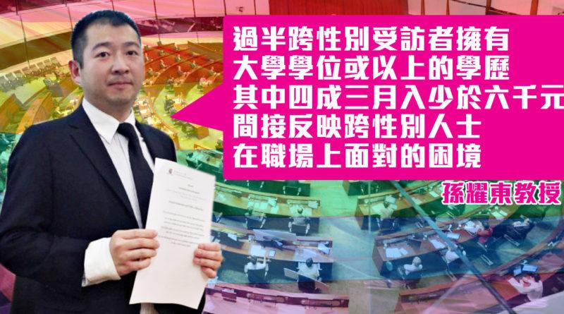 【性別承認法公聽會】過半跨性別有自殺念頭 四成高學歷者月入僅六千|孫耀東教授